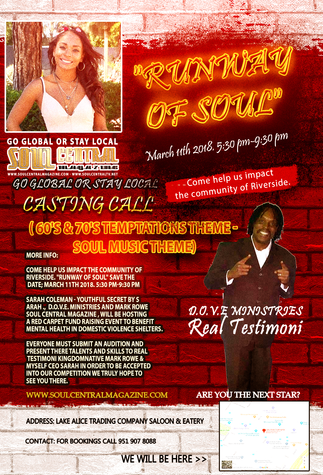 RUNWAY OF SOUL - Casting Call - Riverside - California - 3-11-18 - Soul Central Magazine
